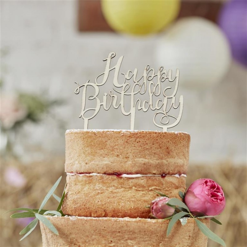Wooden Happy Birthday Cake Topper