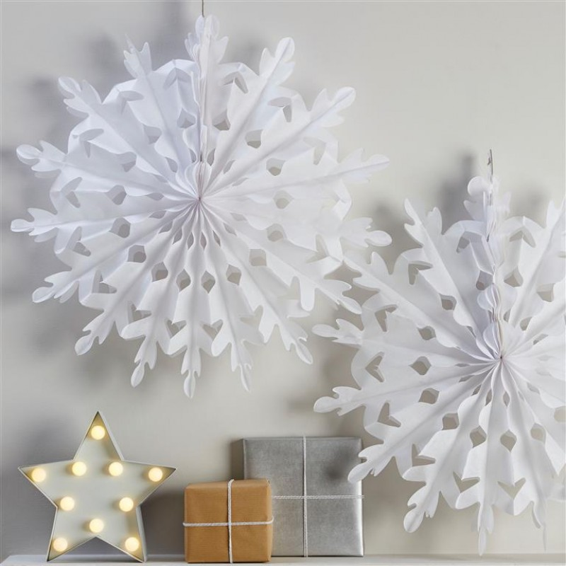 White Giant Snowflake Tissue Fan Decorations