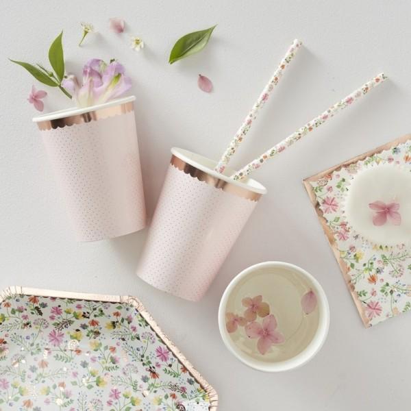 Rose Gold Foiled Polka Dot Paper Cups - Ditsy Floral