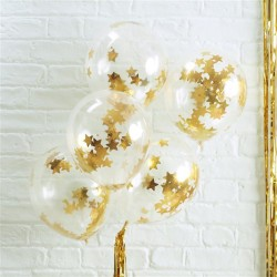Gold Star Shaped Confetti Balloons - Metallic Star