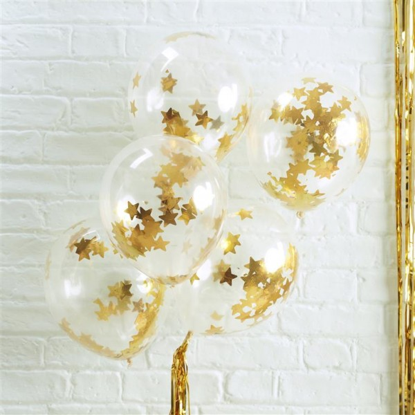 Gold Star Shaped Confetti Balloons - Metallic Star