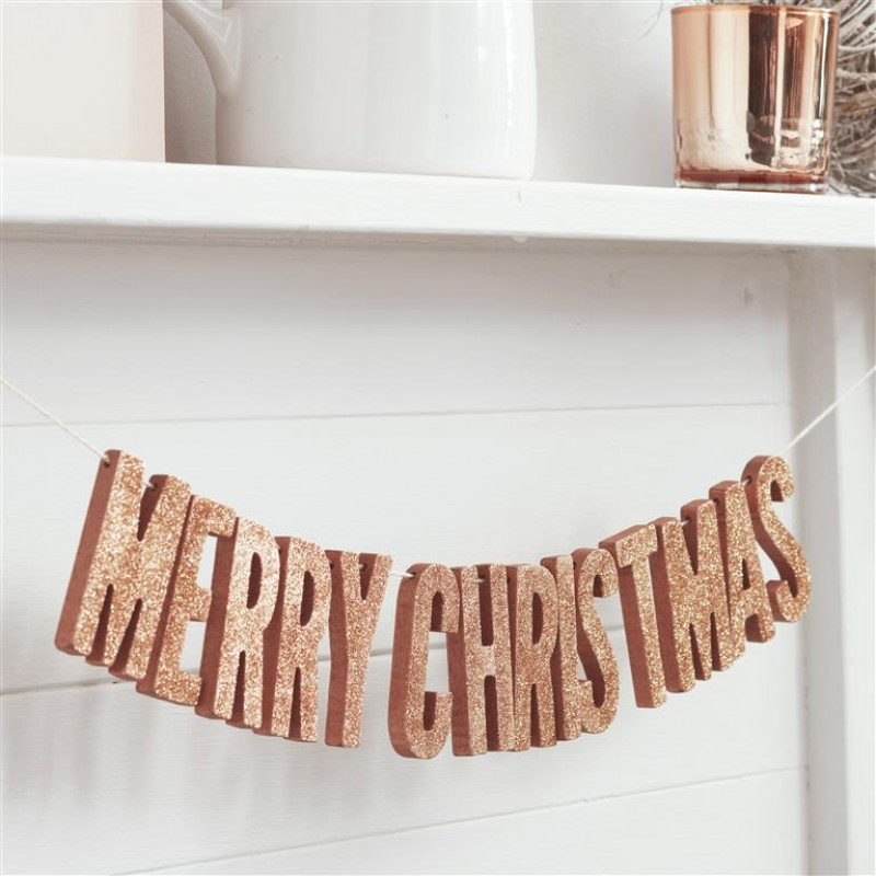 Rose Gold Merry Christmas Glitter Garland Metallic Star