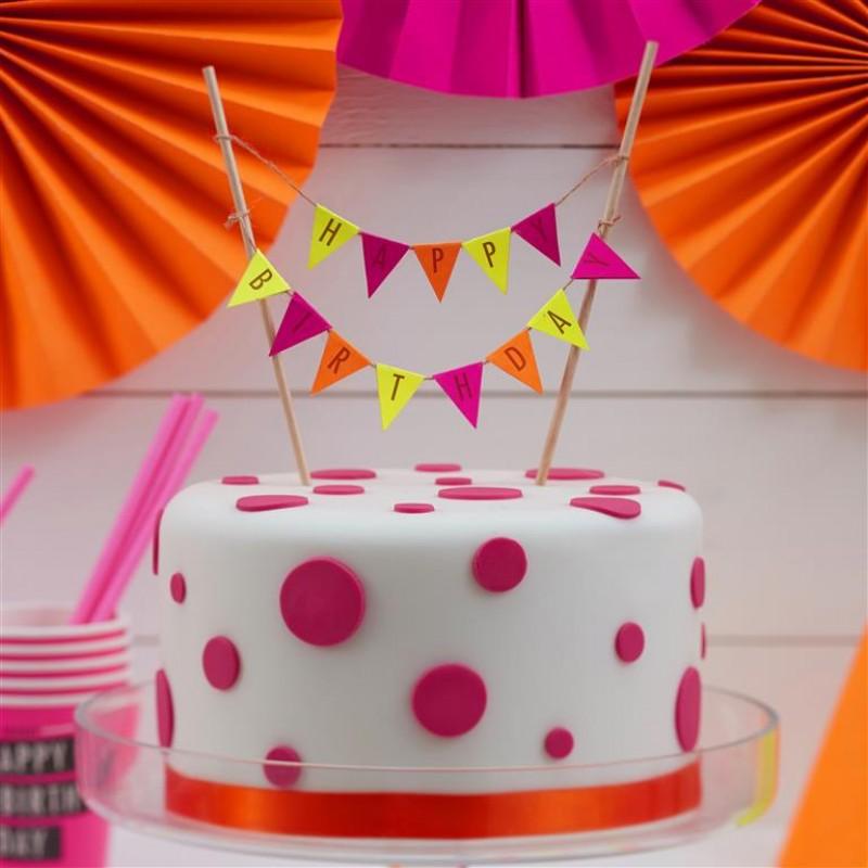 Happy Birthday Cake Bunting Neon Birthday