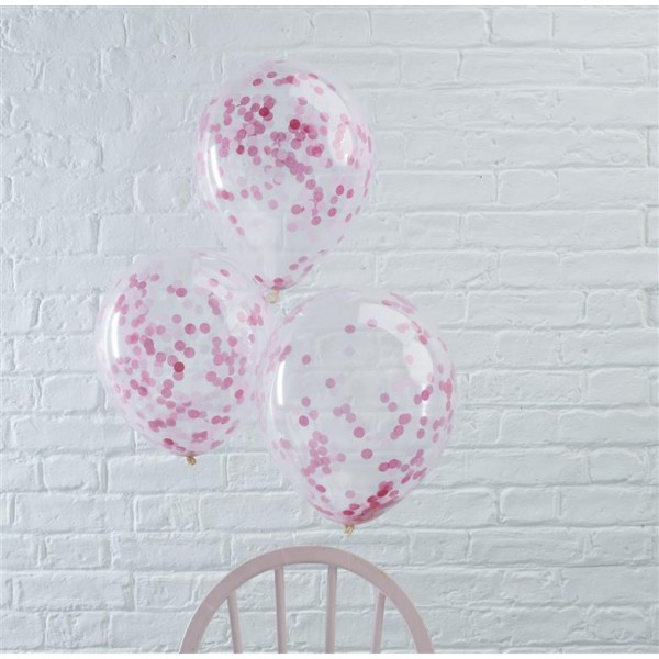 Pink Confetti Filled Balloons - Pick And Mix
