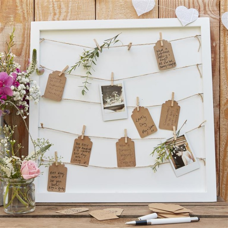 Wooden Peg, String and Tags Frame - Guestbook Alternative