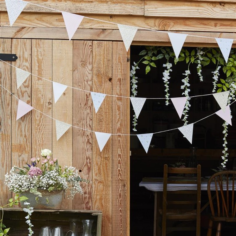 Rustic Country 10m Ginger Ray Vintage Style Floral Print Wedding Bunting