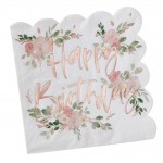 Rose Gold Foiled Ditsy Floral Happy Birthday Napkins