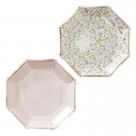 Rose Gold Foiled Floral Paper Plates - Ditsy Floral