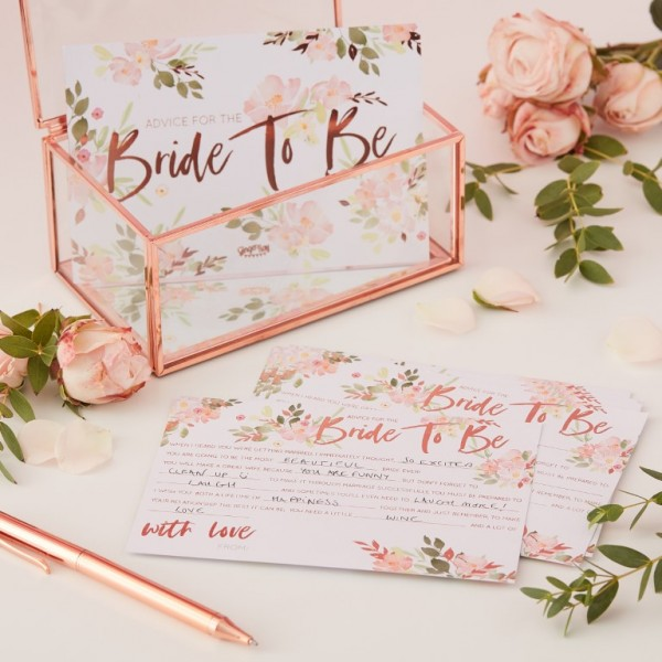 Rose Gold Foiled Advice Cards - Bride to Be