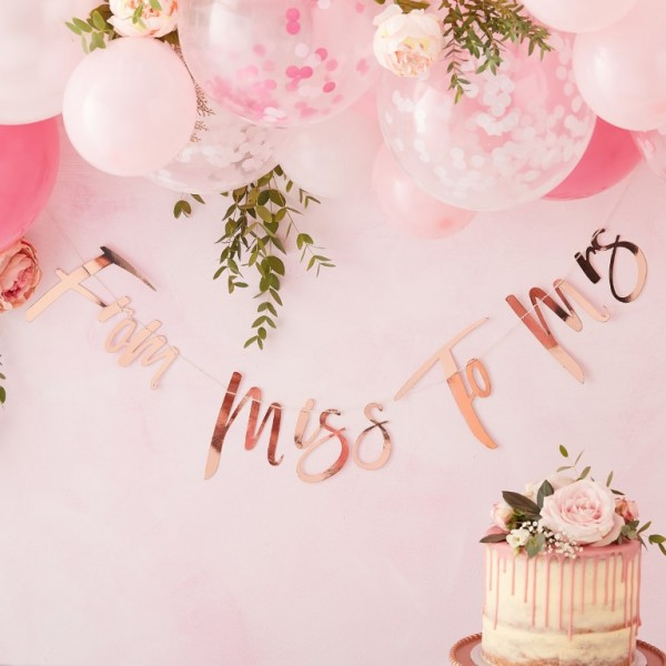 Rose Gold Foiled From Miss to Mrs Bunting