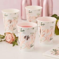 Rose Gold Foiled Floral Team Bride Cups
