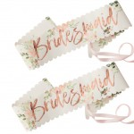 Rose Gold Foiled Floral Bridesmaid Sashes