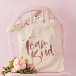 Rose Gold Foiled Team Bride Canvas Tote Bag