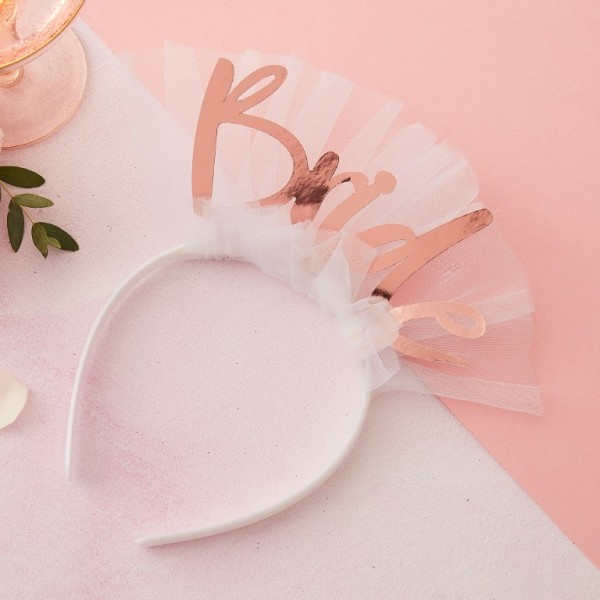 Rose Gold Bride Head Band with Veil
