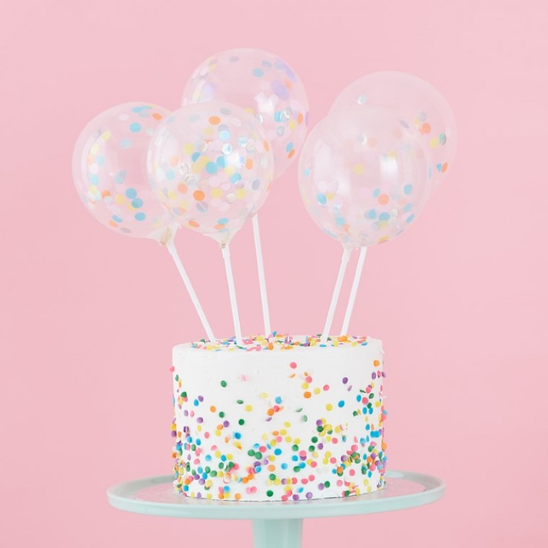 Prime Pastel Confetti Balloon Cake Toppers Funny Birthday Cards Online Elaedamsfinfo