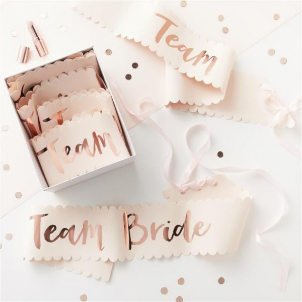 Pink and Rose Gold Team Bride Sashes - 6 Pack
