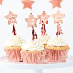Rose Gold Foiled Twinkle Twinkle Cupcake Toppers with Tassels