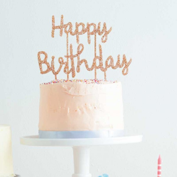 Happy Birthday Gold Glitter Acrylic Toppers