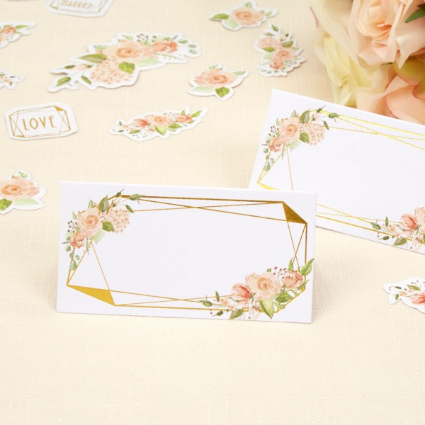 Geo Floral - Wedding Place Cards
