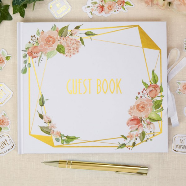 Geo Floral Gold Wedding Guest Book