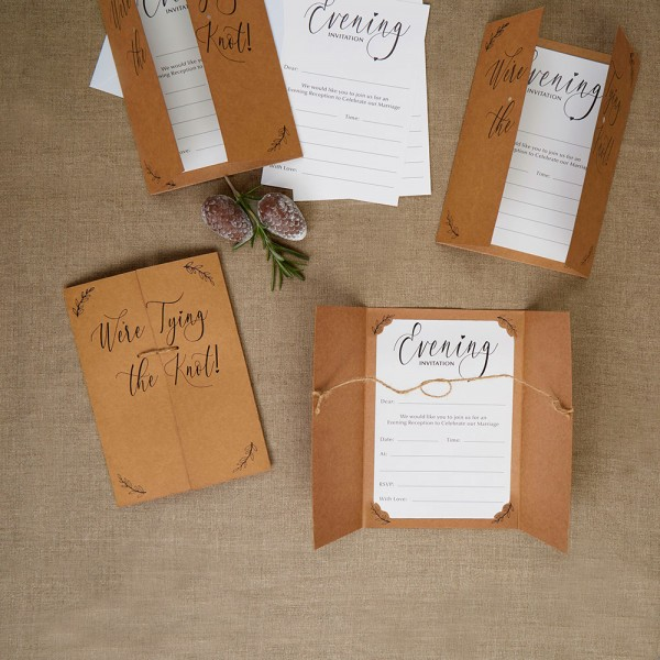 We're Tying the Knot Evening Wedding Invitations - 10 Pack