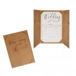 We're Tying the Knot Kraft Wedding Invitations - 10 Pack