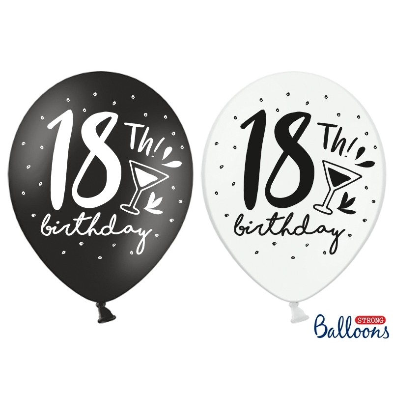 Black And White 18th Birthday Balloons