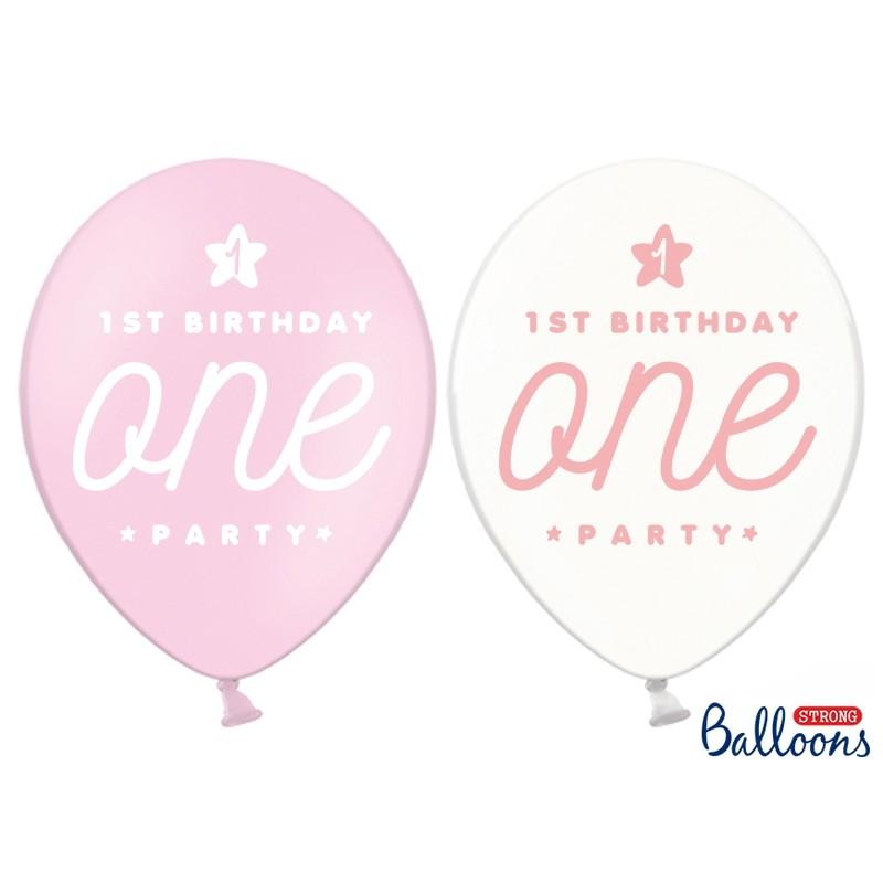 1st Birthday Pastel Pink Balloons