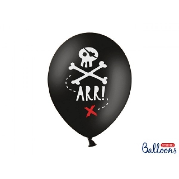 Pirate Party Black Balloons - 6 Pack