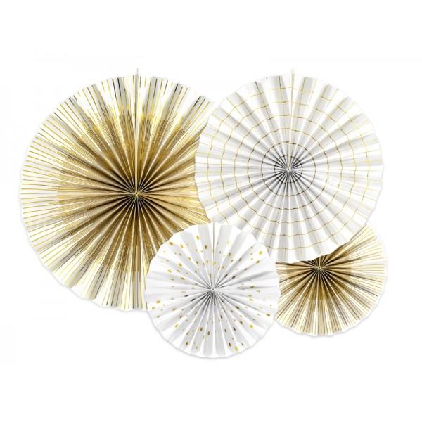 Decorative Rosettes White & Gold Foil Paper Decorations