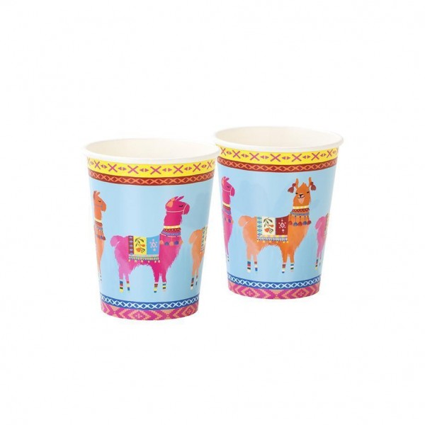 Boho Llama Paper Party Cups - 8 Pack