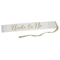 Modern Romance Bride to Be Satin Sash - Glitter Gold