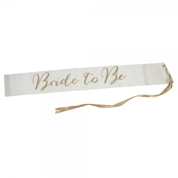 Modern Romance Bride to Be Satin Sash - Glitter Gold