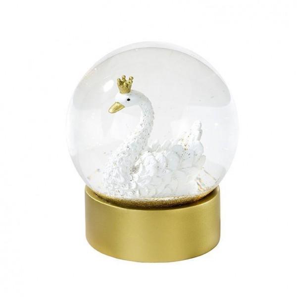 We Heart Swans Gold Glitter Snowglobe